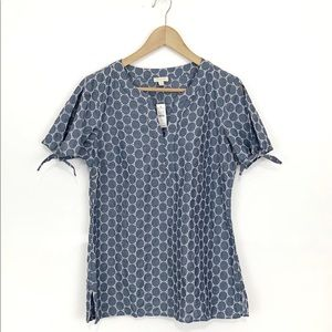 TALBOTS Women's Chambray Blouse Embroidery Size S